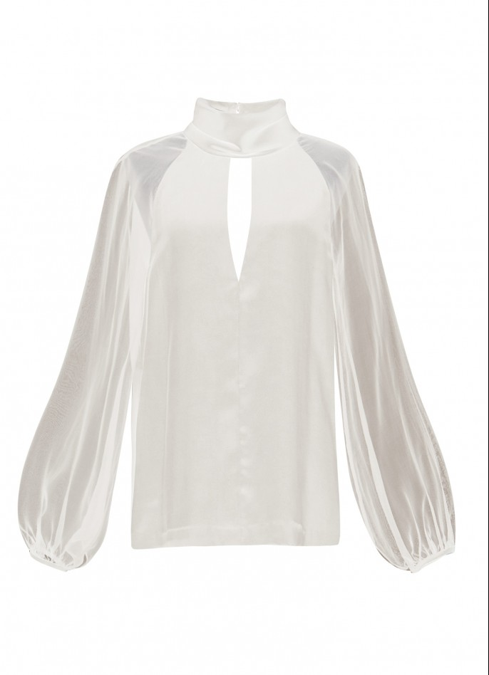 SILK TURTLENECK BLOUSE