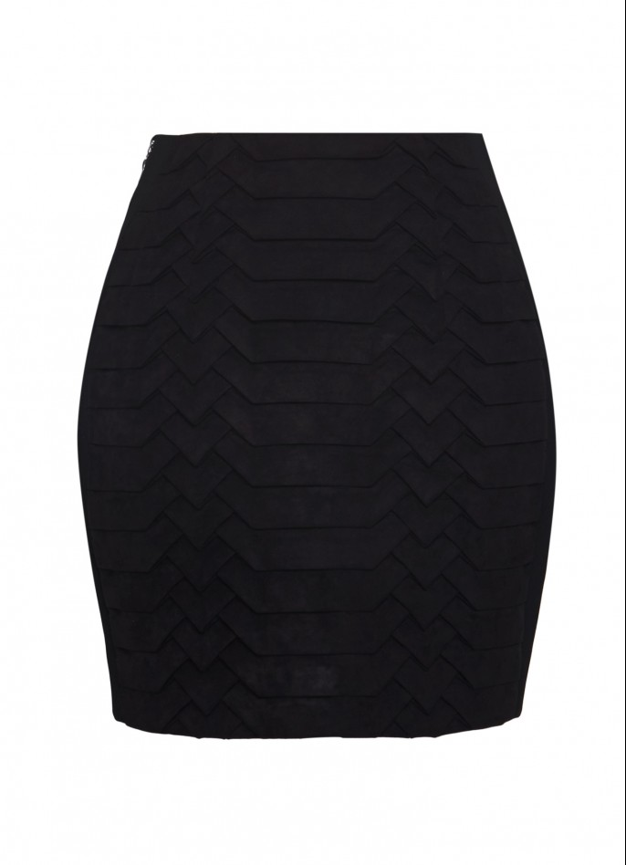 ULTRASUEDE AND STRETCH-CREPE MINI SKIRT
