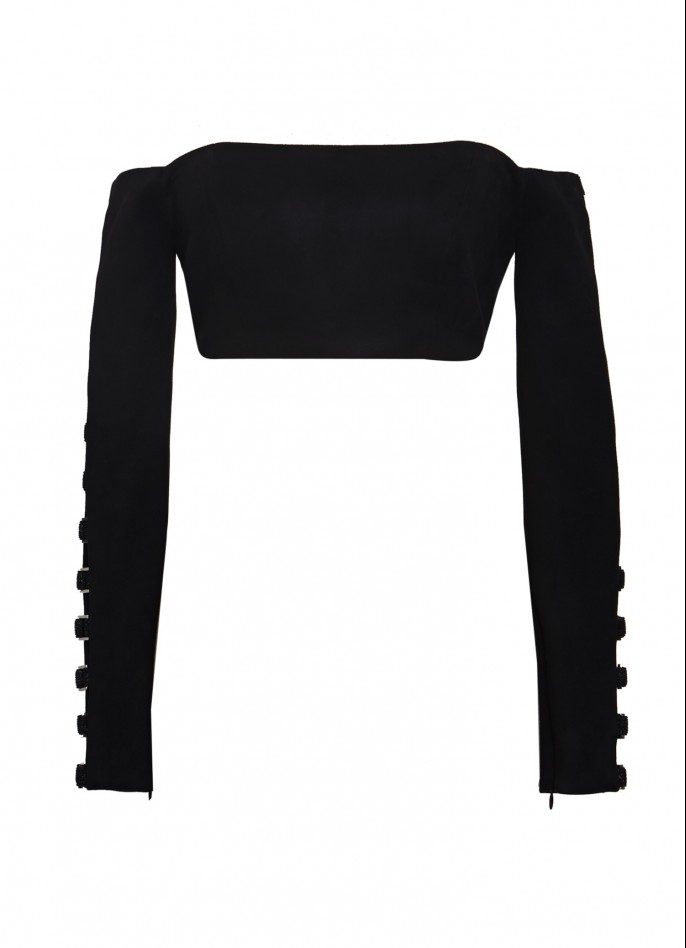 CUTOUT ULTRASUEDE OFF-THE-SHOULDER CROP TOP