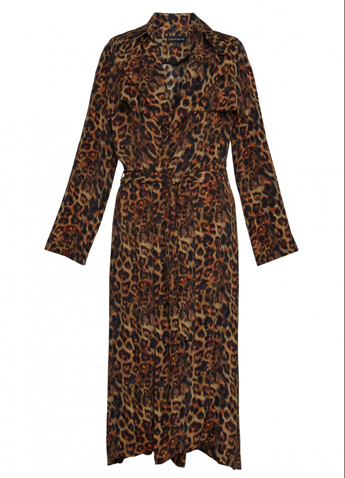 PRINTED CUPRO TRENCH COAT