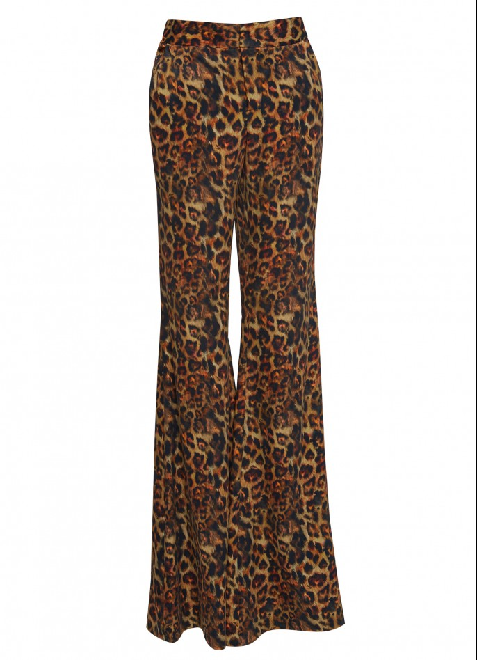 PRINTED WIDE-LEG CUPRO PANTS