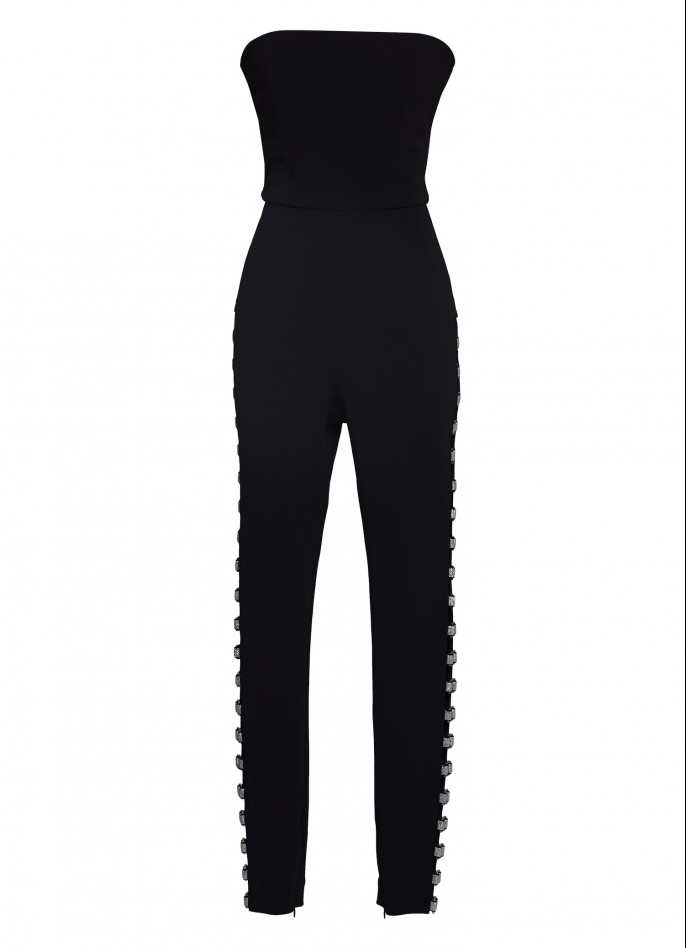 CUTOUT STRETCH CREPE JUMPSUIT