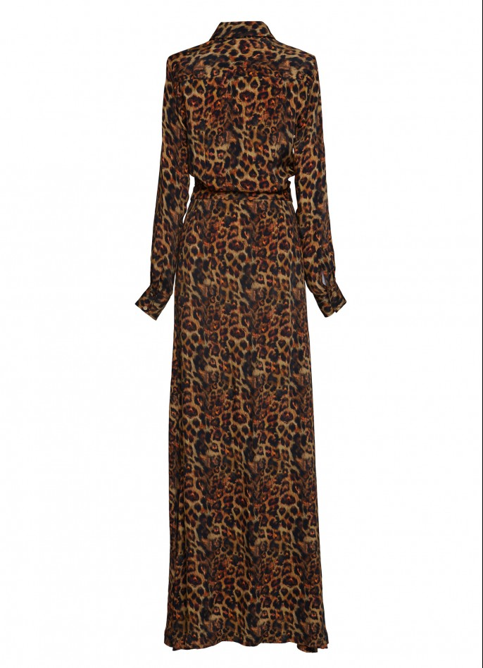 PRINTED CUPRO MAXI DRESS