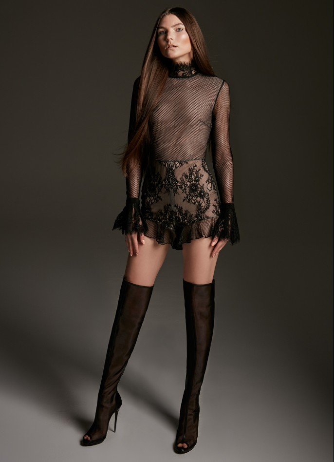 BLACK LACE AND TULLE TURTLENECK PLAYSUIT