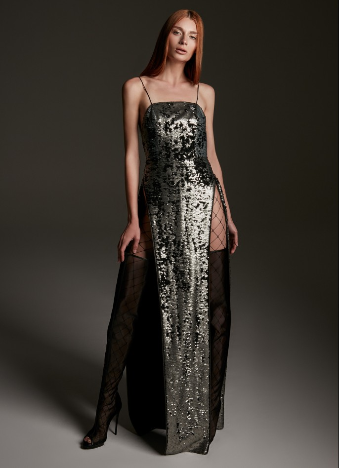SILVER SEQUIN BACKLESS GOWN