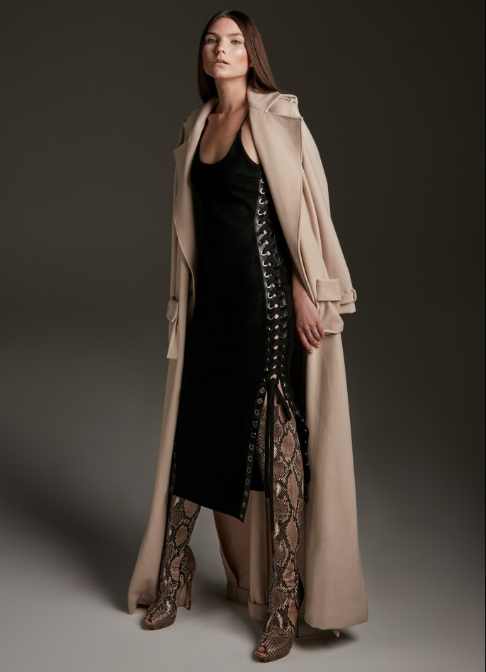 BEIGE WOOL-BLENDED COAT