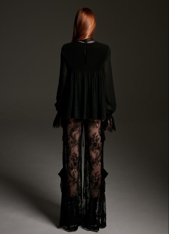 BLACK LACE WIDE-LEG PANTS