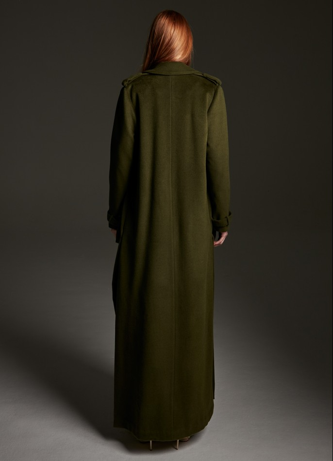 NAVY GREEN WOOL-BLENDED COAT