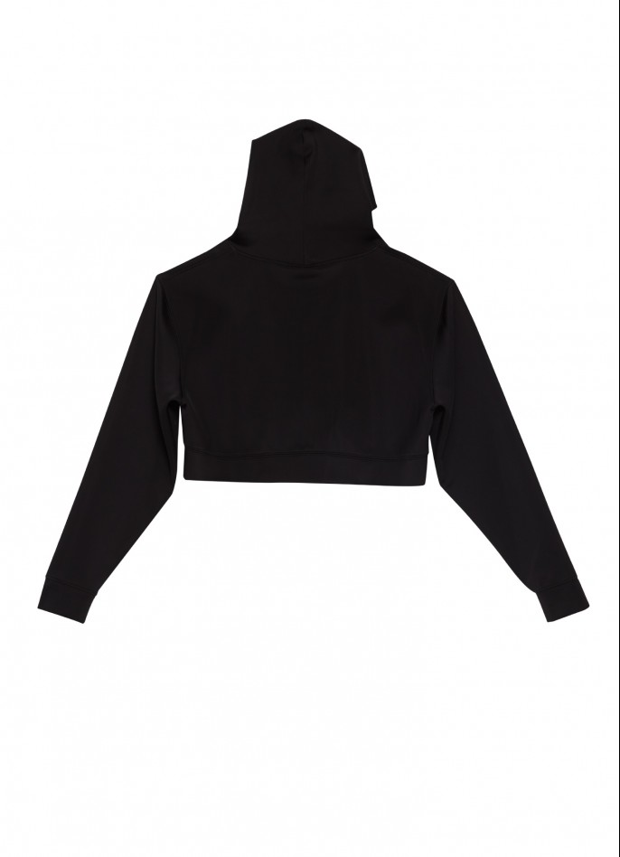 BLACK OVERSIZED SILVER PRINTED STRETCH-POLYAMIDE HOODED TOP