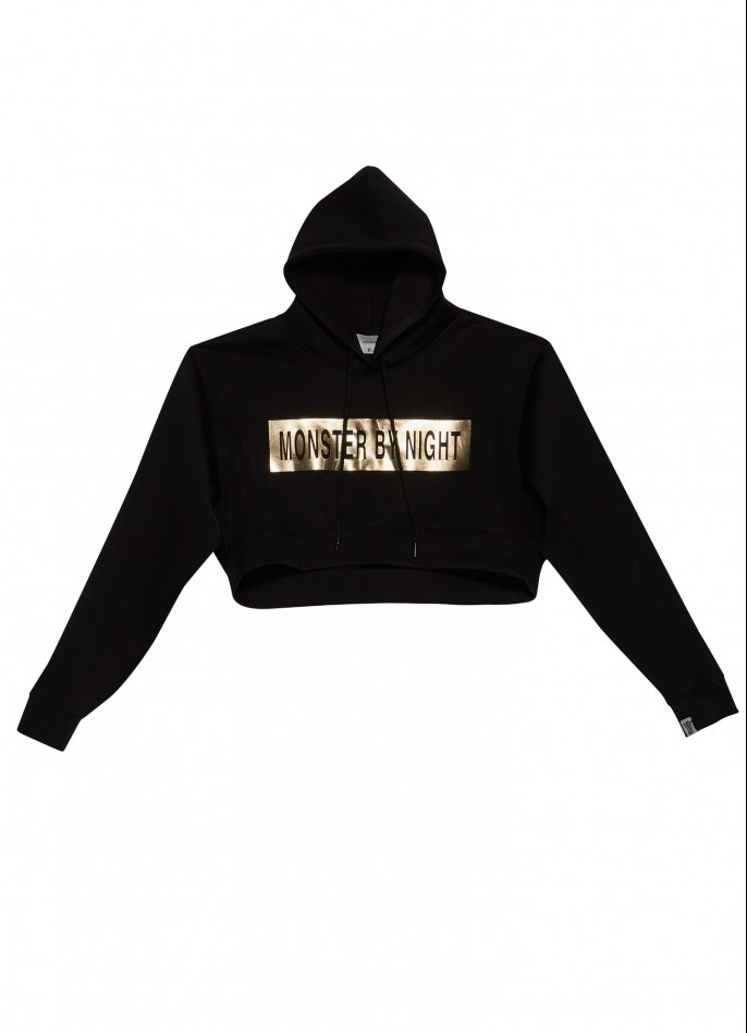 BLACK OVERSIZED GOLD PRINTED STRETCH-POLYAMIDE HOODED TOP