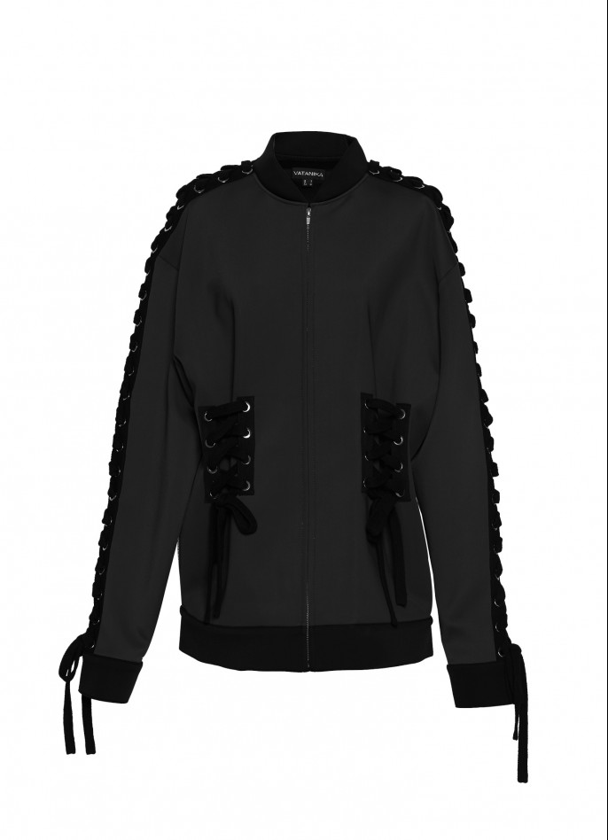 BLACK STRETCH-POLYAMIDE LACE-UP BOMBER