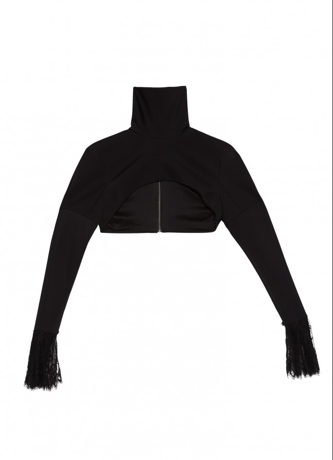 BLACK LACE-TRIMMED STRETCH-POLYAMIDE TURTLENECK TOP