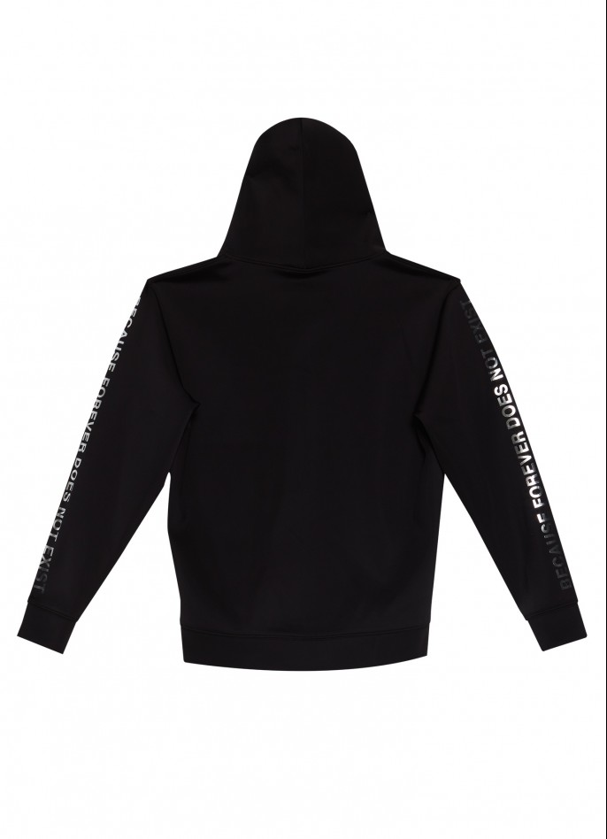 BLACK OVERSIZED PRINTED STRETCH-POLYAMIDE HOODED TOP