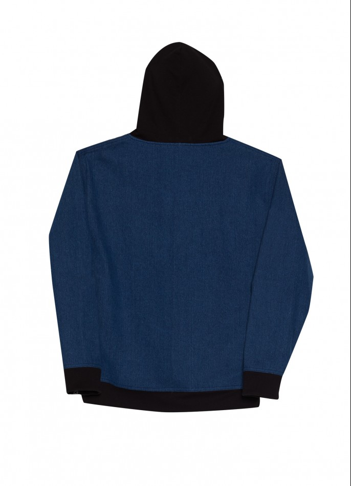 BLACK COTTON-BLENDED AND DENIM OVERSIZED HOODED TOP
