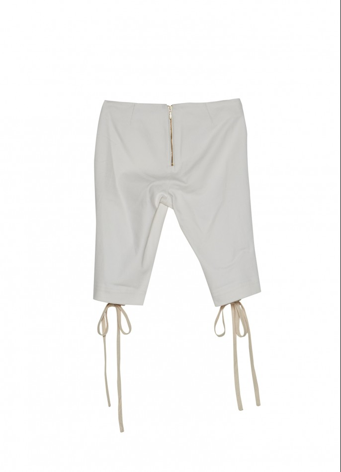 WHITE DENIM LACE-UP SHORTS