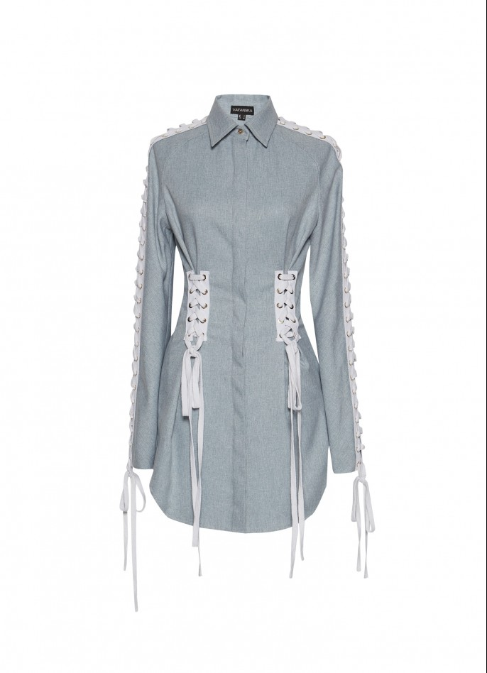 LIGHT BLUE COTTON-BLEND LACE-UP SHIRT