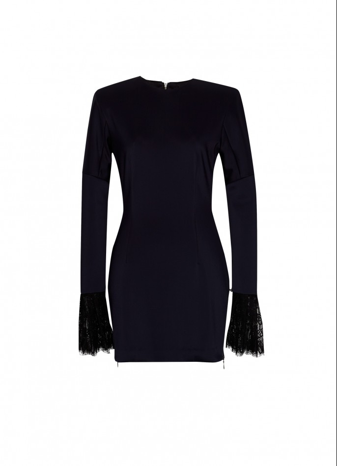 DARK BLUE LACE-TRIMMED STRETCH-POLYAMIDE MINI DRESS