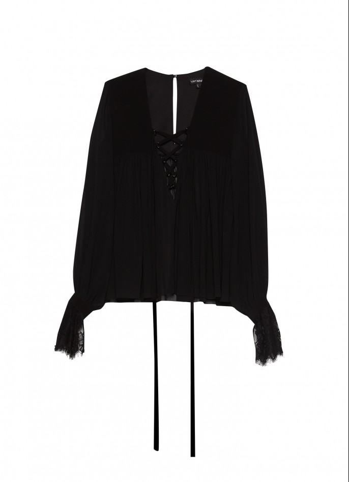 BLACK LACE-TRIMMED CHIFFON LACE-UP BLOUSE