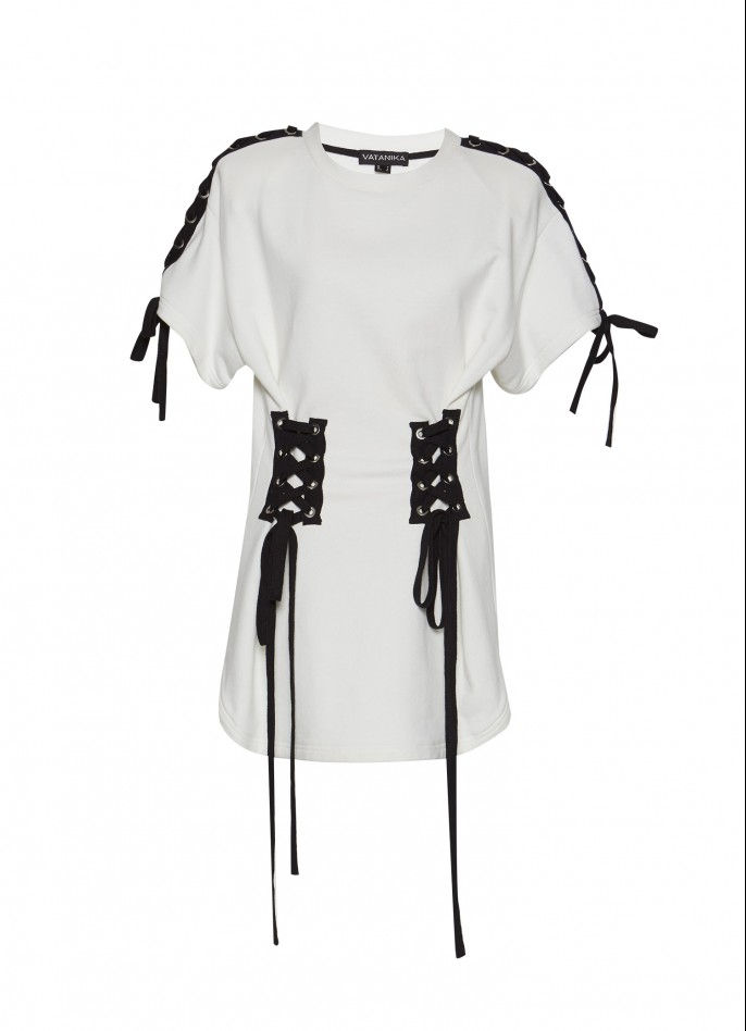 WHITE LACE-UP COTTON-TERRY TOP