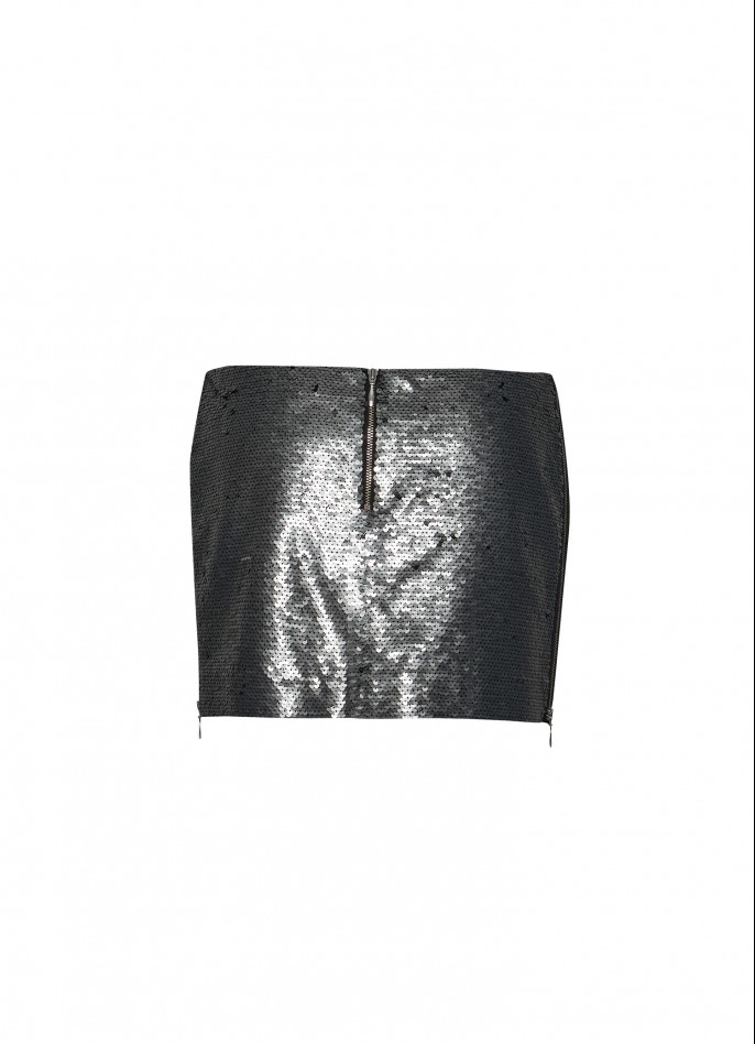SILVER HIGH ZIP SLIT SEQUIN MINI SKIRT