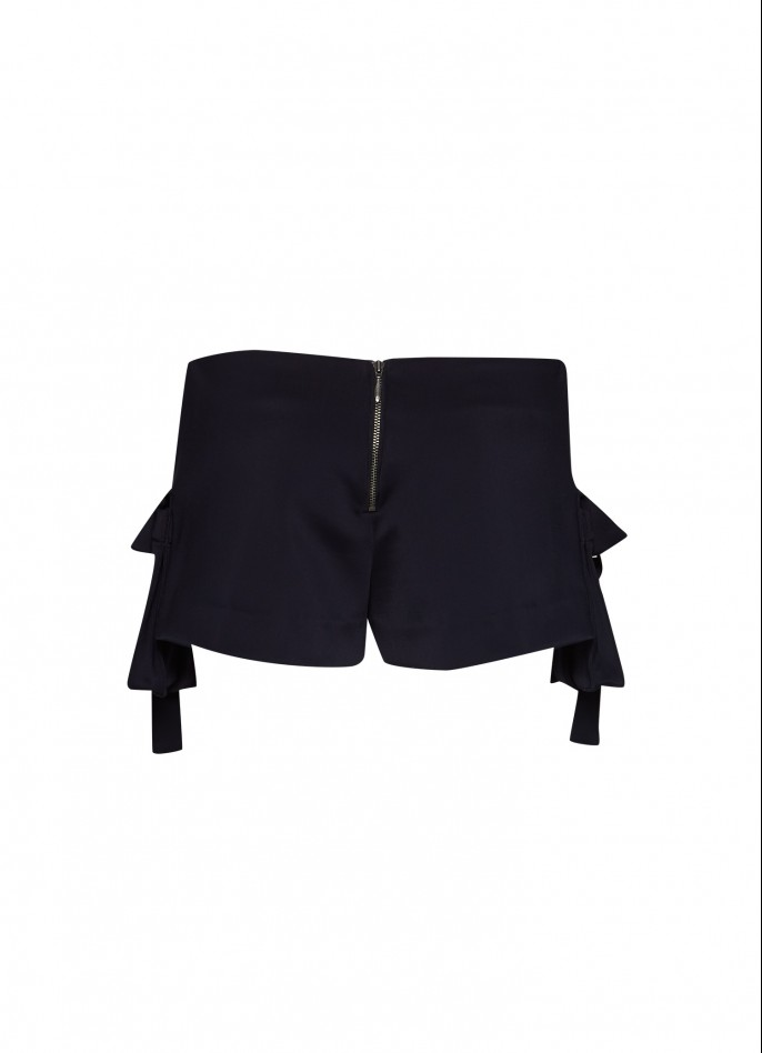 DARK BLUE STRETCH-POLYAMIDE SHORTS