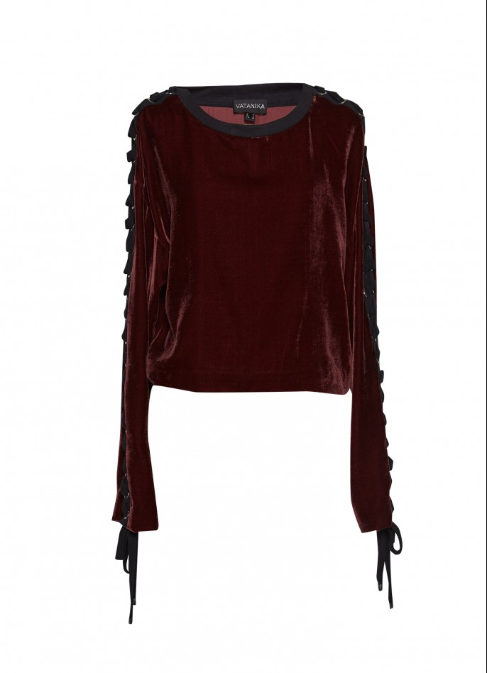 BURGUNDY SILK VELVET LACE-UP TOP