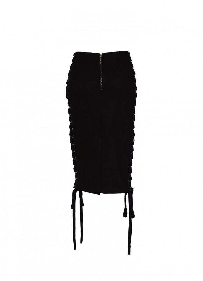 BLACK ULTRASUEDE LACE-UP PENCIL SKIRT
