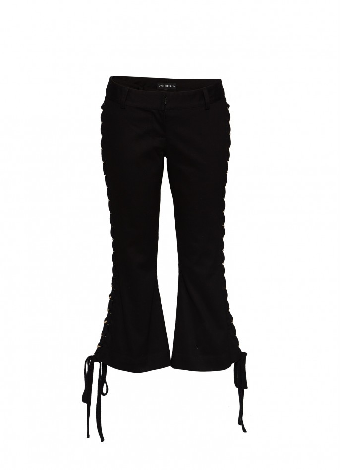 BLACK COTTON-BLEND LACE-UP FLARE PANTS