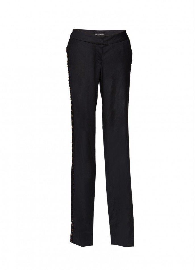 BLACK EMBELLISHED COTTON-BLEND WIDE-LEG PANTS