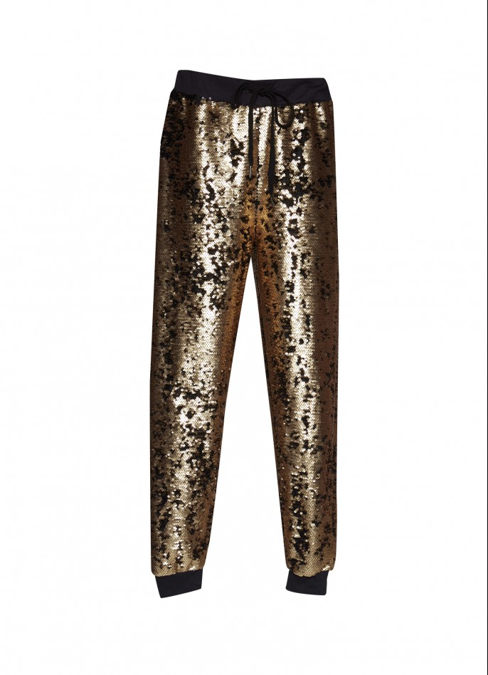 GOLD SEQUIN TRACK PANTS