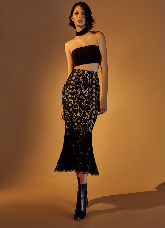 FRENCH LACE WIDE-LEG PANTS