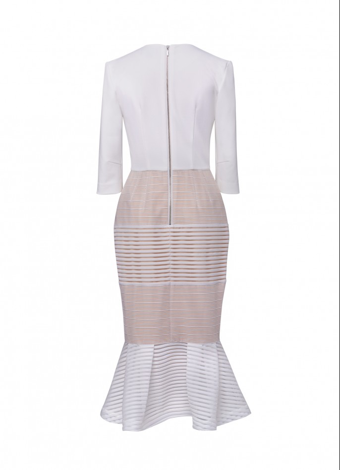 STRETCH CREPE AND STRIPED MESH MIDI DRESS