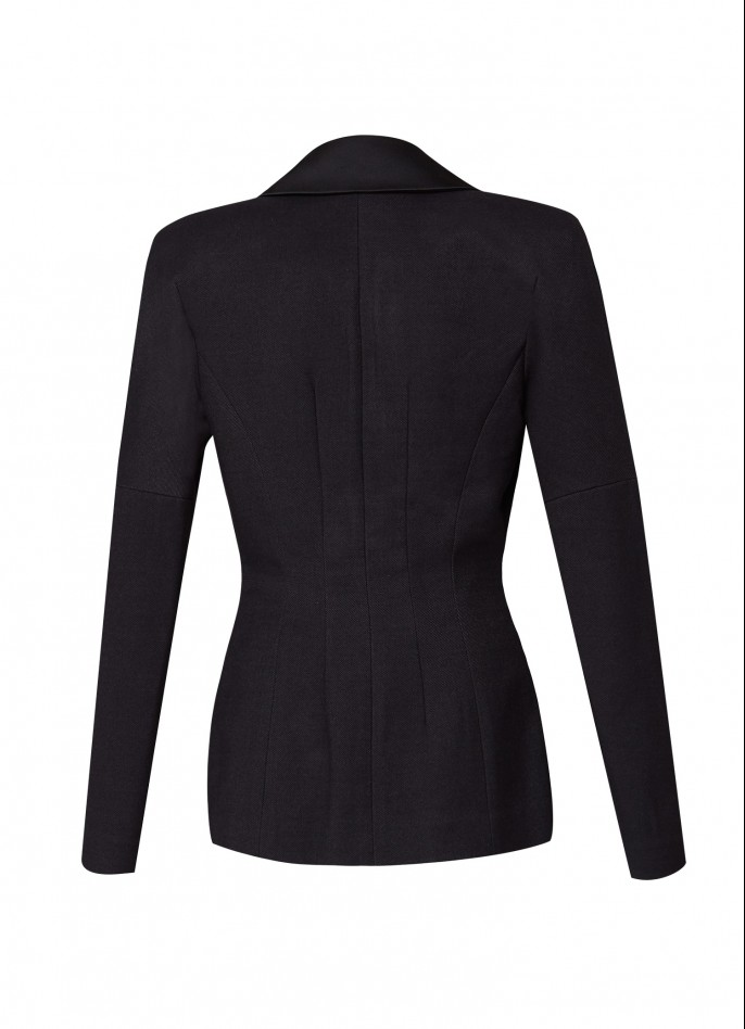 BLACK COTTON-BLEND AND SATIN BLAZER