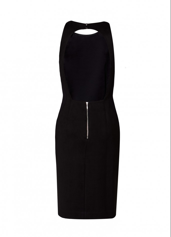 BLACK HIGH ZIP SLIT ULTRASUEDE AND CREPE-BLEND DRESS