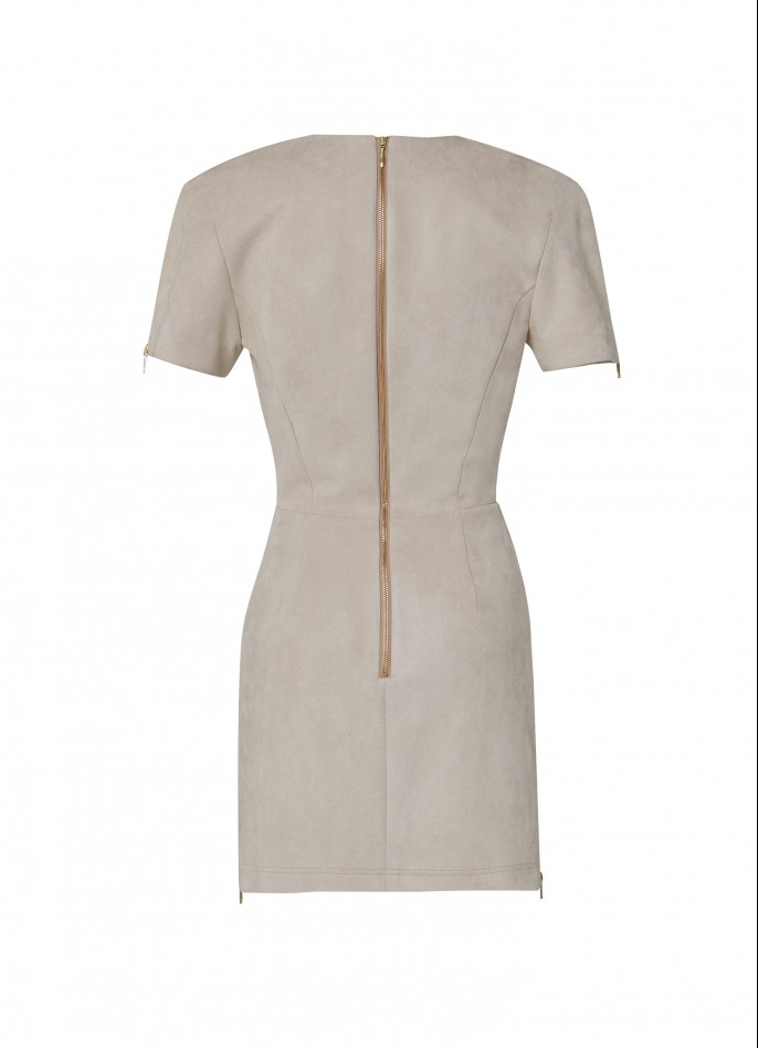 BEIGE HIGH ZIP SLIT ULTRASUEDE MINI DRESS