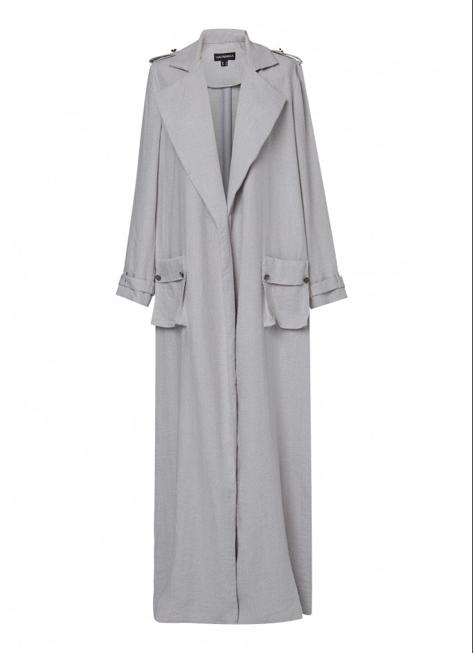LIGHT GREY RAYON-BLEND DUSTER