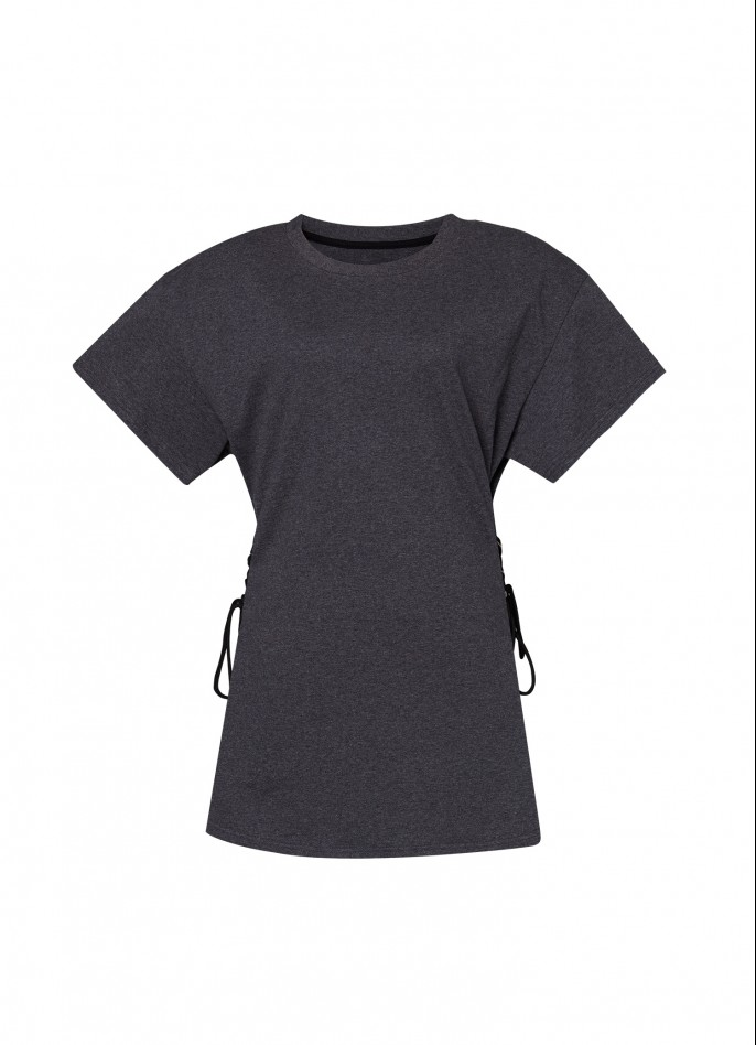 DARK GREY LACE-UP COTTON-TERRY T-SHIRT