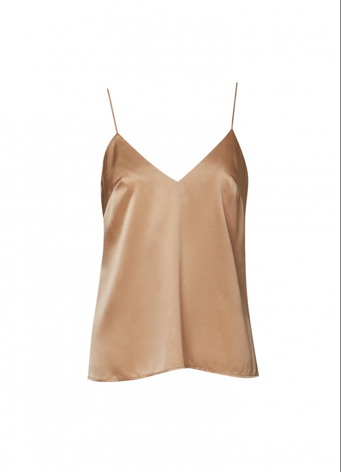 TAN STRETCH SILK SATIN CAMISOLE