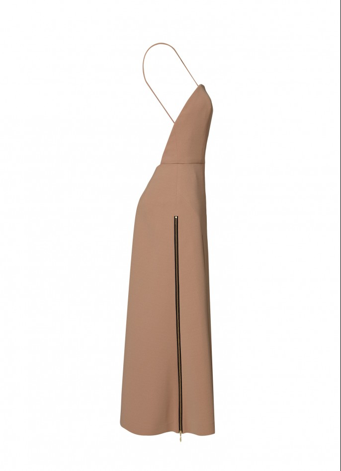 TAN HIGH ZIP SLIT BACKLESS CREPE BLEND DRESS