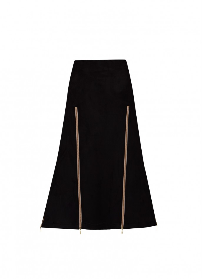 BLACK HIGH ZIP SLIT STRETCH-POLYAMIDE SKIRT