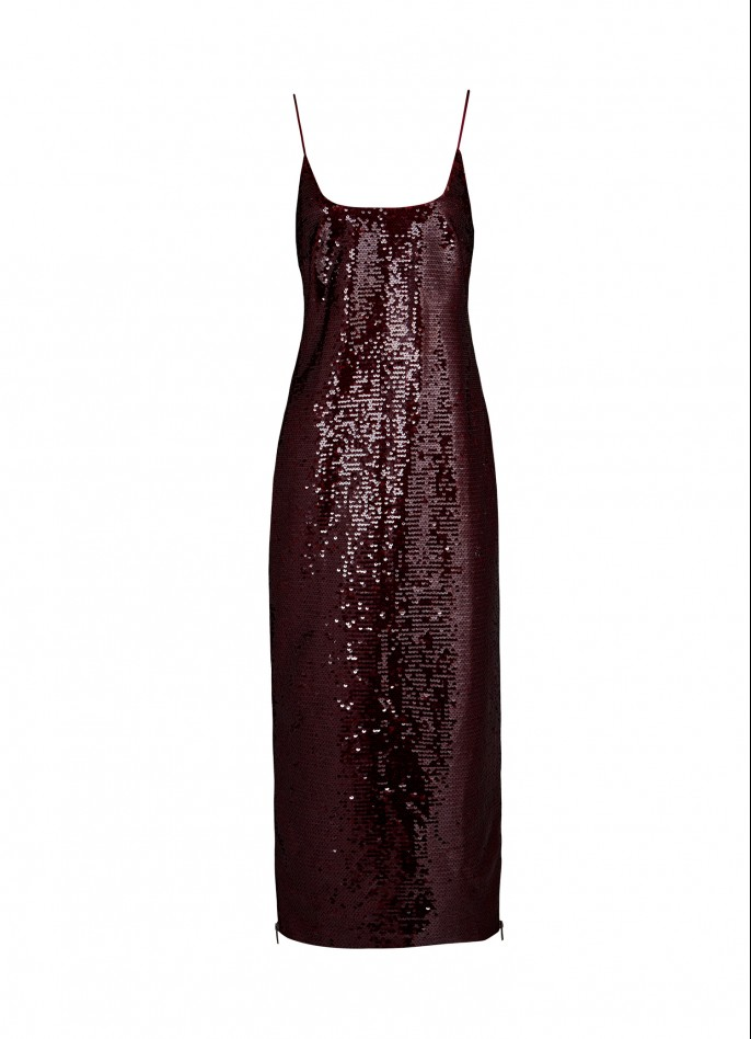 BURGUNDY HIGH ZIP SLIT SEQUIN SLIP DRESS