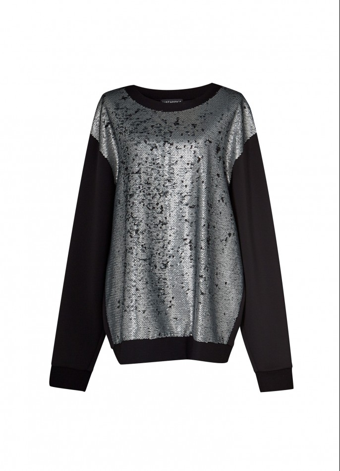 MATT GREY SEQUIN AND BLACK STRETCH-POLYAMIDE SWEATSHIRT
