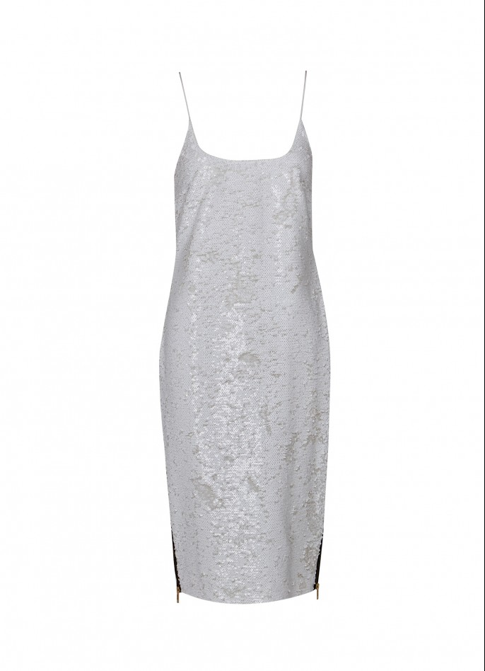 WHITE HIGH ZIP SLIT SEQUIN SLIP DRESS