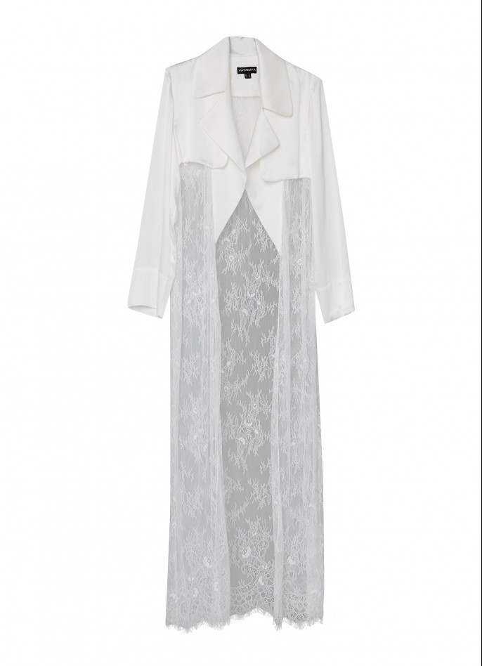 WHITE SILK SATIN AND LACE DUSTER