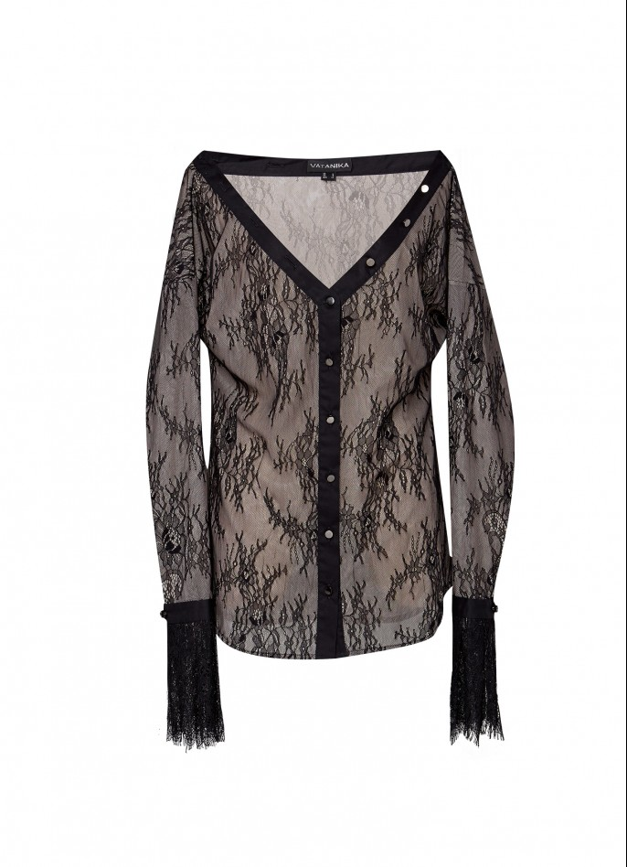 BLACK OFF-SHOULDER LACE SHIRT