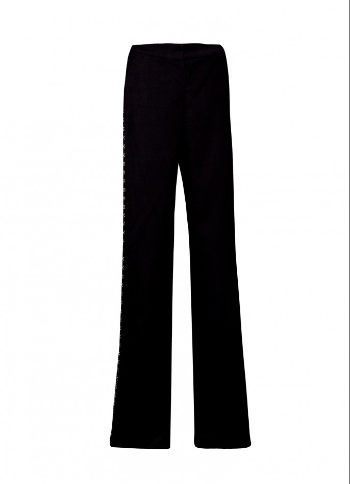 BLACK EMBELLISHED COTTON-BLEND STRAIGHT-LEG PANTS