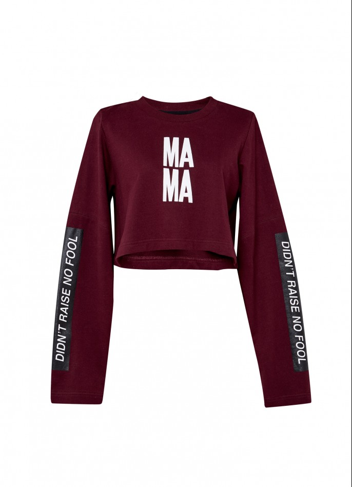 BURGUNDY PRINTED COTTON-TERRY PULLOVER