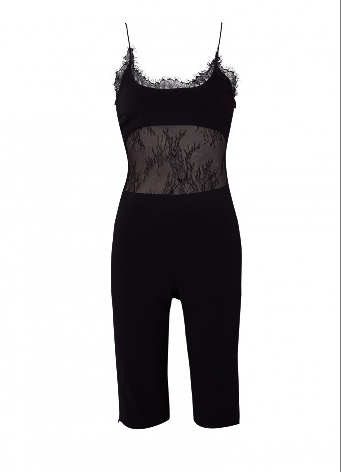 BLACK STRETCH CREPE AND LACE PLAYSUIT