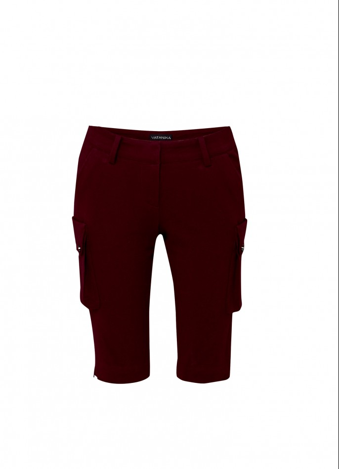 BURGUNDY COTTON-TERRY SHORTS