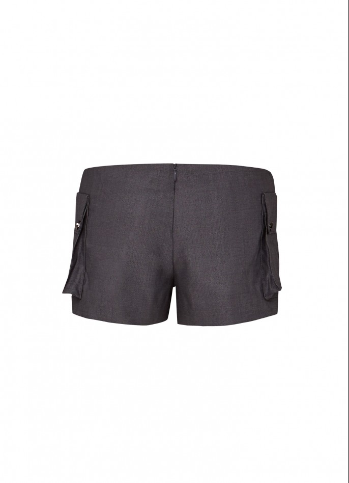 GREY WOOL-BLEND SHORTS
